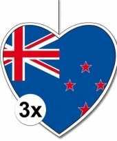 Feest 3x nieuw zeeland hangdecoratie harten 28 cm