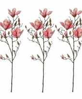 Feest 3x roze magnolia beverboom kunsttak kunstplant 90 cm