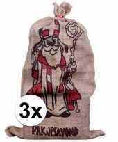 Feest 3x sinterklaas zakken van jute 60 x 102 cm