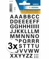 Feest 3x stickervellen letters zwart 10 mm 65x