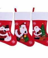 Feest 3x stuks rode kerstsokken met print 45 cm