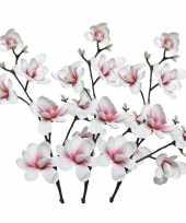 Feest 3x witte roze magnolia beverboom kunsttakken kunstplanten 100 cm