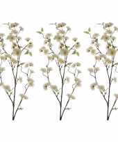 Feest 3x witte sakura kersenbloesem kunsttakken kunstplanten 112 cm
