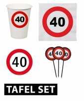 Feest 40 jaar tafel versiering pakket verkeersbord