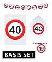 Feest 40 jaar versiering pakket verkeersbord basic