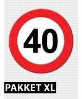 Feest 40 jarige verkeerbord decoratie pakket xl