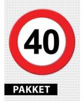 Feest 40 jarige verkeerbord decoratie pakket