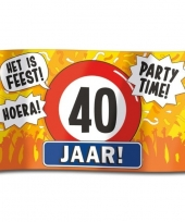 Feest 40e verjaardag straatvlag 100x150 cm