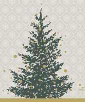 Feest 40x kerst servetten grijs goud kerstbomen 24 x 24 cm