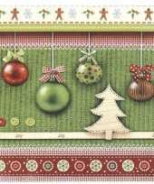 Feest 40x kerst servetten groen met kerstballen 33 x 33 cm