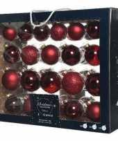 Feest 42x donkerrode glazen kerstballen 5 6 7 cm mat glans glitter