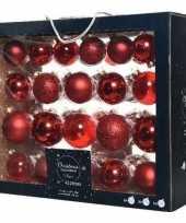 Feest 42x kerst rode glazen kerstballen 5 6 7 cm mat glans glitter