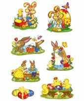 Feest 42x paashazen konijnen stickers met glitters