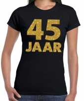 Feest 45 jaar goud glitter verjaardag jubileum kado shirt zwart dames