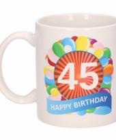 Feest 45e verjaardag cadeau beker mok 300 ml