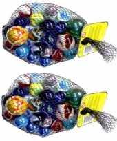 Feest 46x knikkers bonken in verschillende formaten en kleuren