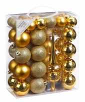 Feest 47x gouden kunststof kerstballen 4 6 cm mat glans met piek