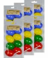 Feest 48x gekleurde kunststof eieren decoratie 6 cm hobby
