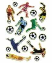 Feest 48x voetbal stickers met 3d effect met zacht kunststof