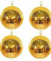 Feest 4x disco spiegel ballen goud 30 cm