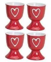 Feest 4x eierdopjes rood met hartje 6 x 5 cm