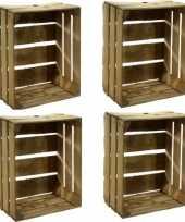 Feest 4x gebruikte houten fruitkisten 30 x 50 x 40 cm
