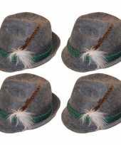 Feest 4x grijze tiroler hoedjes verkleedaccessoires voor volwassenen