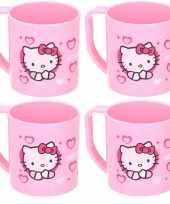 Feest 4x hello kitty disney mokken onbreekbare drinkbekers lichtroze