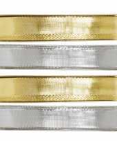 Feest 4x hobby decoratie metallic zilver en gouden sierlinten met glitters 9 mm x 25 meter