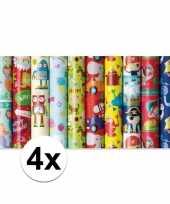 Feest 4x inpakpapier kinder verjaardag met monster 200 x 70 cm