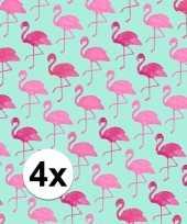 Feest 4x inpakpapier met flamingo motief 200 x 70 cm op rol type 2
