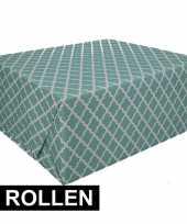 Feest 4x inpakpapier met groen design 200 x 70 cm op rol type 2