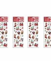 Feest 4x kerst stickervellen met 25 huisdieren stickers