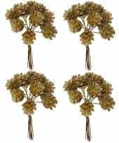 Feest 4x kerststukje instekers bosje van 12 gouden dennenappels op draad