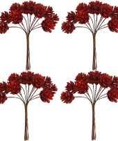 Feest 4x kerststukje instekers bosje van 12 rode dennenappels op draad
