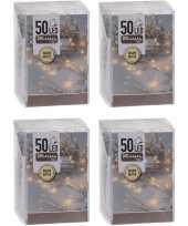 Feest 4x kerstverlichting op batterij warm wit 50 lampjes