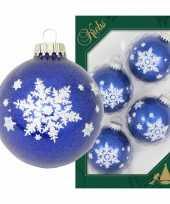 Feest 4x luxe blauwe glazen kerstballen glitter met witte sneeuwvlok 7 cm