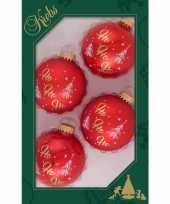 Feest 4x luxe rode glazen kerstballen ho ho ho 7 cm kerstboomversiering