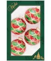 Feest 4x luxe rood groene glazen kerstballen 7 cm kerstboomversiering