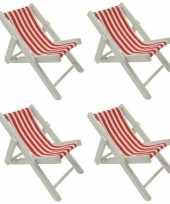 Feest 4x maritieme decoratie strandstoel rood