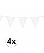 Feest 4x papieren rozen vlaggenlijnen wit 3 meter
