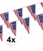 Feest 4x plastic amerikaanse vlaggetjes slingers