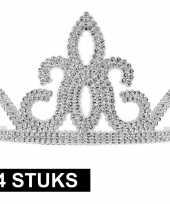 Feest 4x prinsessen tiara zilver voor dames