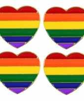 Feest 4x regenboog pride hart metalen pin broche 3 cm