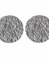 Feest 4x ronde kerstdiner diner onderborden zebraprint 33 cm