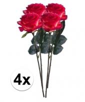 Feest 4x rood gele rozen simone kunstbloemen 45 cm