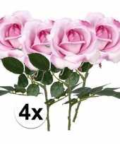 Feest 4x roze rozen carol kunstbloemen 37 cm