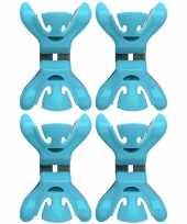 Feest 4x slingers decoratie ophangen slingerklemmen blauw