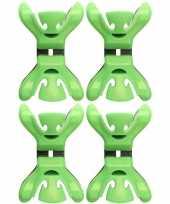 Feest 4x slingers decoratie ophangen slingerklemmen groen