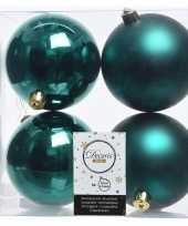 Feest 4x smaragd groene kerstversiering kerstballen kunststof 10 cm